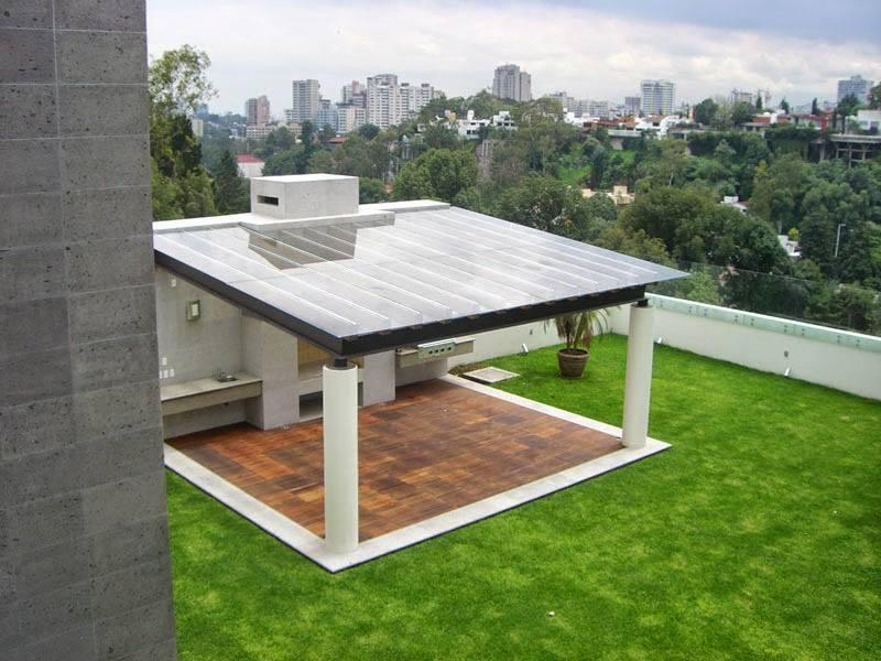 P rgolas de madera acero aluminio vidrio y m s for Terrazas modernas en cemento