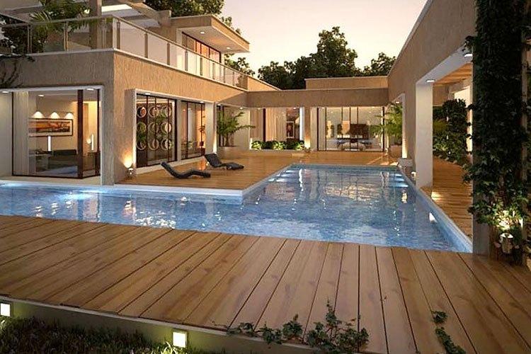 Deck de madera s lida piso de madera para exterior for Deck para exteriores