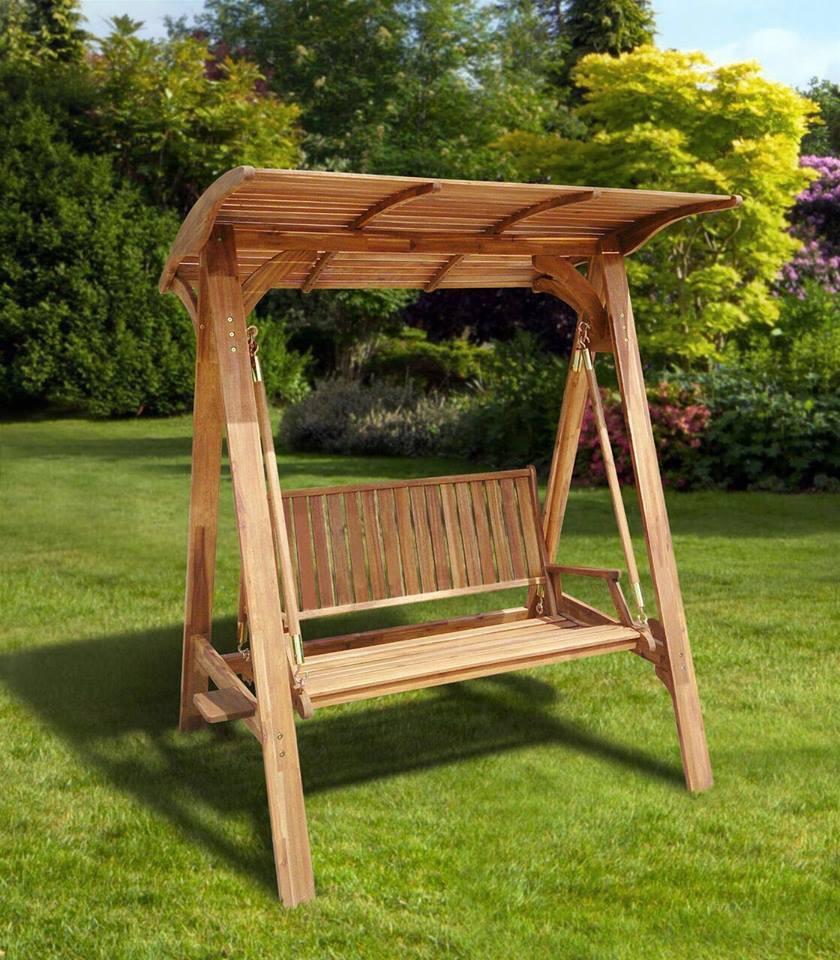 Columpio para exterior de madera de acacia materia viva - Columpios de terraza ...