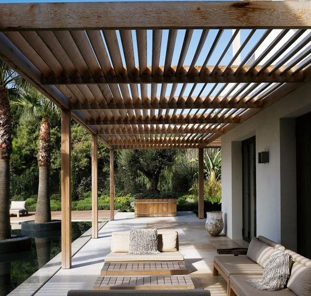 P rgolas de madera acero aluminio vidrio y m s for Muebles para porches baratos