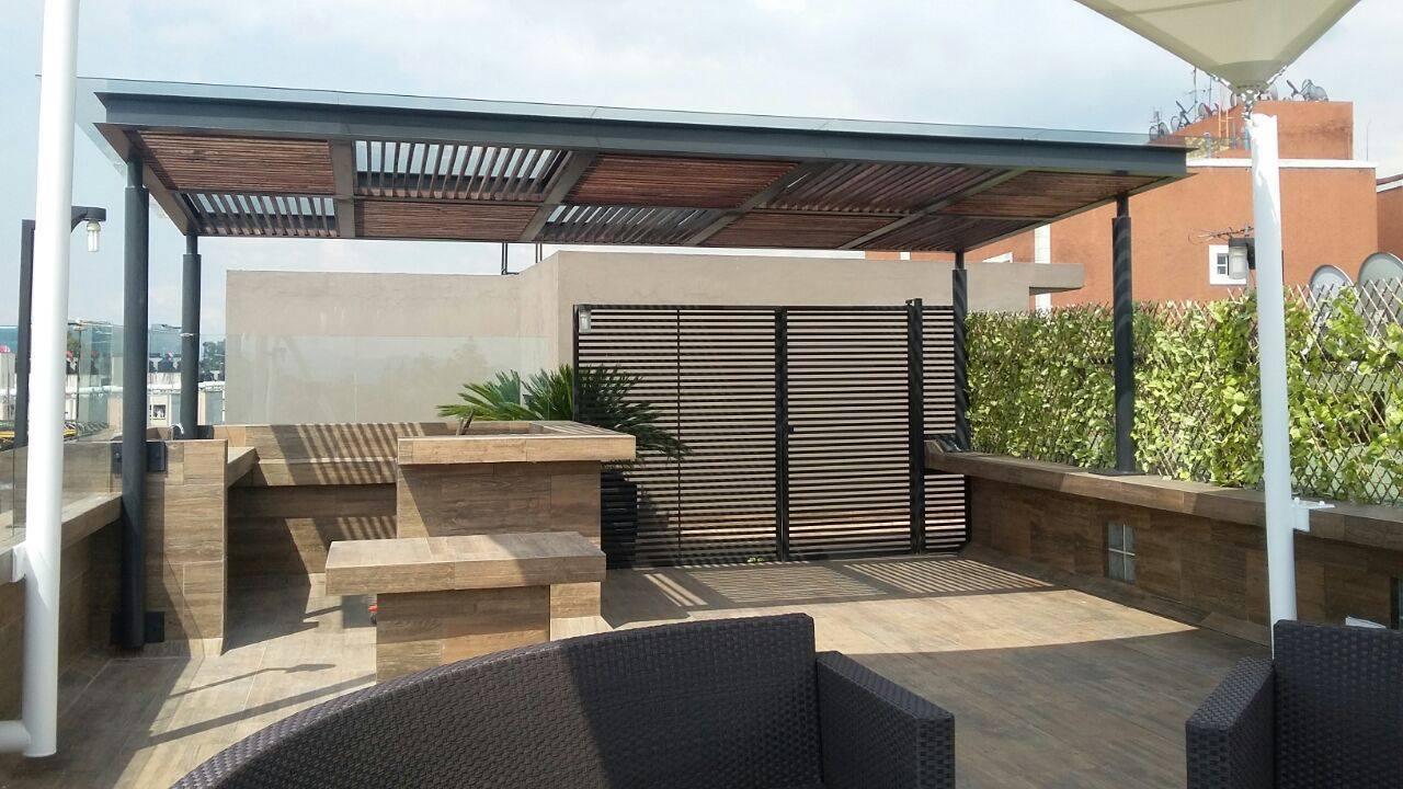 P rgolas de madera acero aluminio vidrio y m s for Tejabanes para terrazas