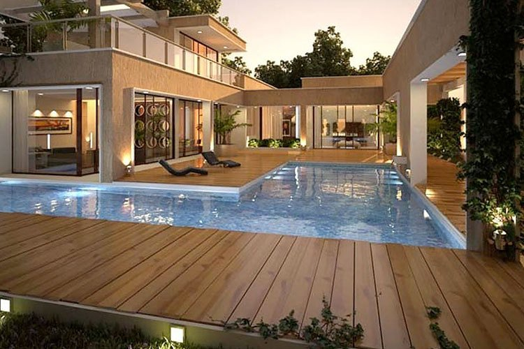 Deck de madera s lida piso de madera para exterior for Piso exterior zulia