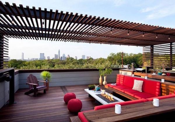 Pérgola de madera en Roof Garden